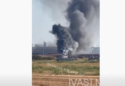 Сильный пожар в частном порту ТИС